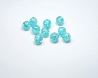 PE349 - Set of 10 10mm blue Crackle glass beads