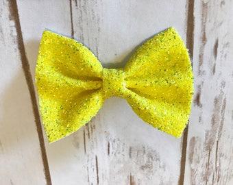 Sunshine Yellow Chunky Glitz Bow