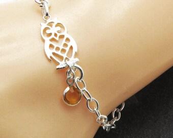Silver Birthstone Owl Bracelet, Owl Charm Bracelet, Birthstone Owl Jewelry, Bird Bracelet, Personalized Owl bracelet, Birthstone Bracelet