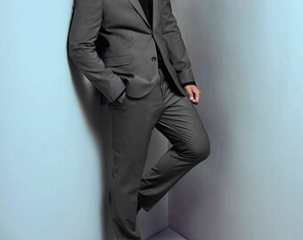 Grey Suit - Tailored To Your Size - Also In Black and Blue