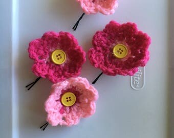 Crochet Flower Hair Pins