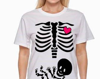 Maternity Skeleton TShirt Pregnancy Shirt FREE SHIPPING