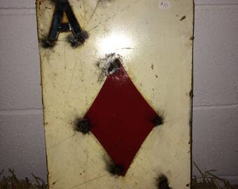 "Recycled Metal Card - 12"" Ace of Diamond Card - Wall Decor Sign"