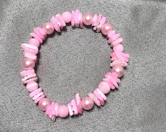 Pink shell beach bracelet