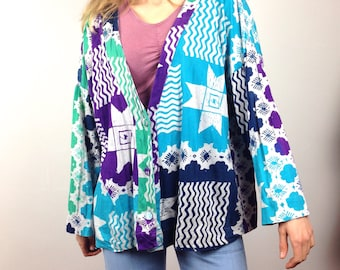 SALE: Funky cotton cardigan with 80s pattern