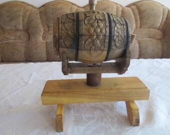 Vintage keg, Wooden barrel, Small whiskey barrel, Handmade barrel, Retro Carved Keg, Barrel with stand, Rustic home decor,Bulgarian folk art
