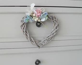 Grey Wicker Heart Wreath, Floral, Artificial Flowers, Bedroom Wall Hanger, Wedding Decor 15cm