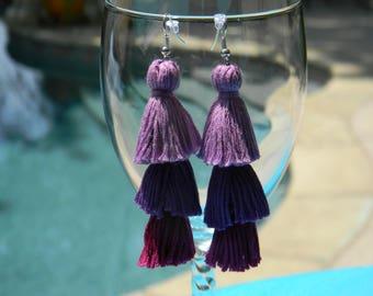 Tassel Earrings - Grape