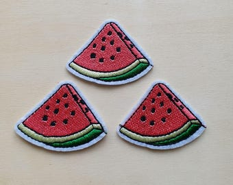 A dozen - 12pcs - slice Pink Watermelon Embroidered Iron on Patch Applique machine embroidery