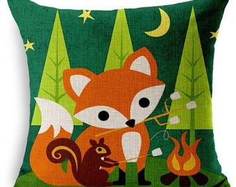 Cute cartoon Red Fox and squirrel campfire square linen cushion pillow cover