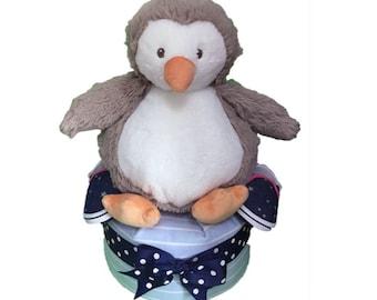 1 Tier Boy Penguin Baby Shower Gift Diaper Cake