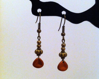 Vintage bronze and copper dangle earrings