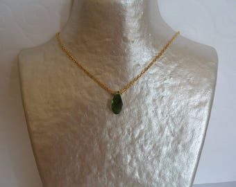 Dark blue-green and gold chain drop necklace