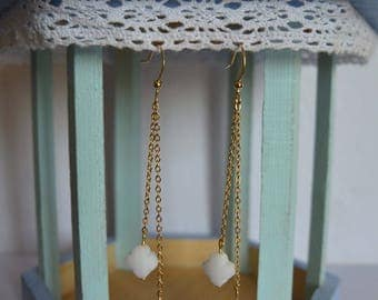 Double white clover earrings on gold chain