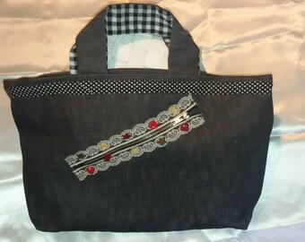 deco closure and black denim canvas tote bag