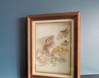 Vintage Giordano kitten art under glass in original frame/vintage Giordano/vintage kitten art/vintage kitsch artwork/nursery decor/Giordano