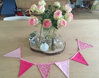 six fabric Bunting pink