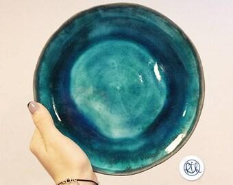 Turquoise dinner plates, Dinnerware. Dinner plate sea in a turquoise glaze handmade ceramic dinner plate.