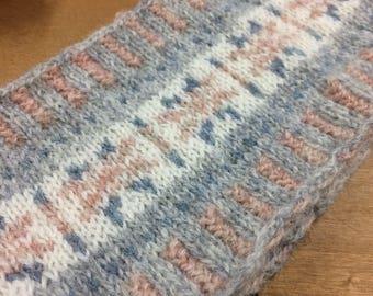 Fair isle hand knitted headband