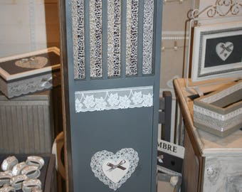 hut shabby grey and white lace heart wooden bread box