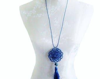 Super Stylescollier jeans blue pendant necklace