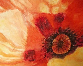 Watercolor painting, painting, close-up poppies (original signed, dated). Red. n ° 2