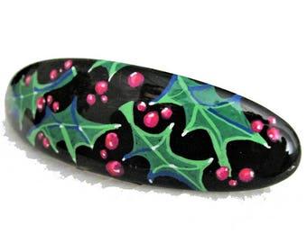Barrette à cheveux, peinte et vernie à la main,large, fond noir, multicolore, style boho, décor Noël, nouvel an.