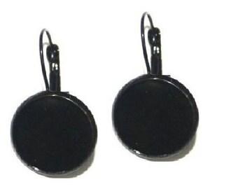 18mm, 3 pairs of black sleeper earring