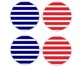 16mm, 2 pairs of striped cabochons