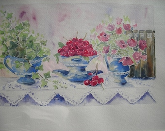 watercolor flowers and fruits: 3 cups