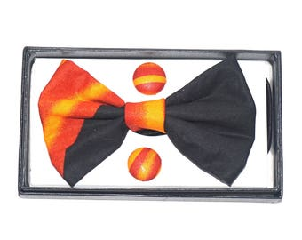 Bow tie set + Fire button earrings: accessory in wax