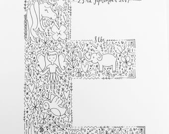 A4 Initial doodle-please see description below with details to add to order.
