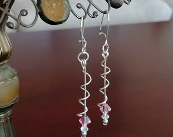 Long Pink Swirl Wire Earrings