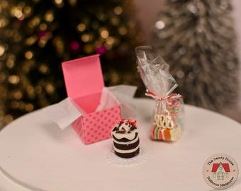 Miniature Cake & Candy - Peppermint, Miniature Christmas Cake and Ribbon Candy, 1:12 Scale Dollhouse Holiday Desserts