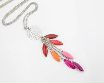 Pink orange red #1337 enameled long necklace