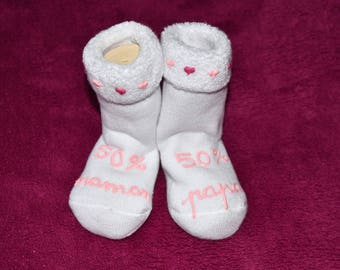 "socks ""50 Mommy 50 Daddy"""