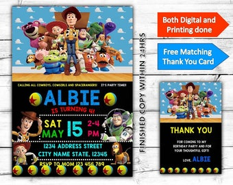 Toy Story Kids Birthday Printable Invitation Plus Free Thank You Card-Both Digital and Printing done
