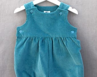 Rompers for baby/toddler - corduroy (light teal)