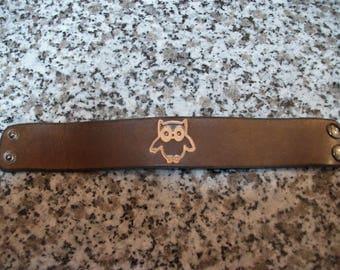 """OWL"" Brown Leather Bracelet"