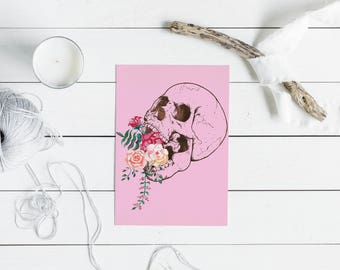 Printable Skull and Flowers Blank Greeting Card