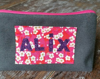 Pencil case personalized with name liberty double