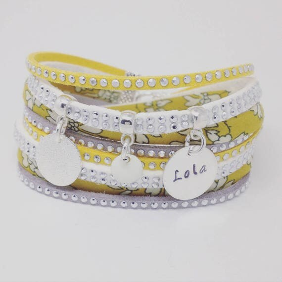 Personalized Bracelet multi strand Liberty yellow mustard with personalized engraving by Palilo