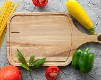 Oak Cutting Board with Handle  Chopping Board Natural Wood Oak Kitchen Gift Board Serving
