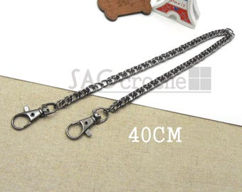 1 x 40cm link chain to attach bag with carabiner color black gunmetal