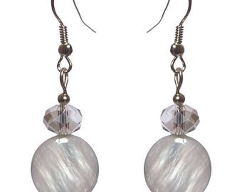 Earrings classic Pearl Grey beads opaque glass faceted