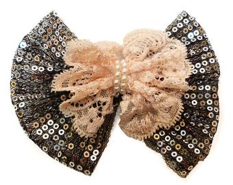 hair bow clip glitter sequin Silver Black Lace tulle Pink salmon