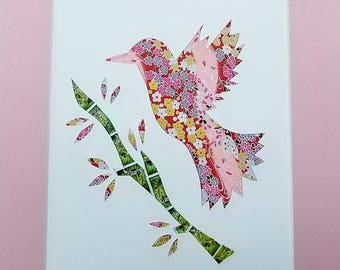 Origami Paper Collage - Bird in Flight (Pink)