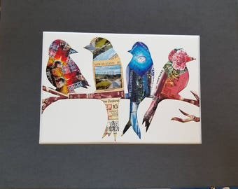 Postage Stamp Collage - Birds on a Wire