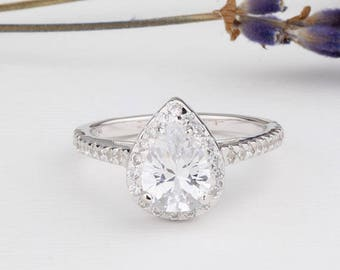 Pear Shaped Ring / Halo Ring Half Eternity Wedding Engagement Ring / Sterling Silver Ring
