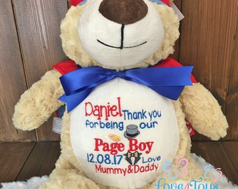 Personalised Hero Bear Teddy Birth Details,Custom Message